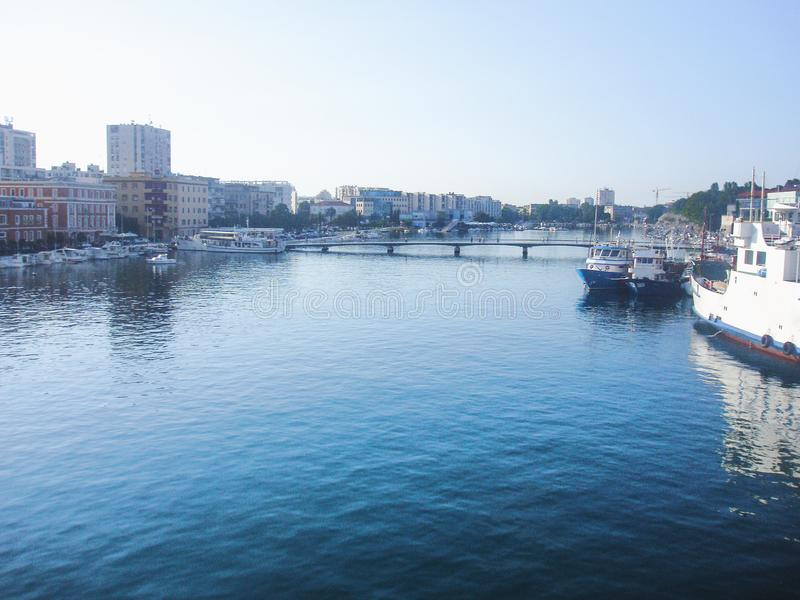 A Mediterranean city port. During the summer sunny morning royalty free stock images
