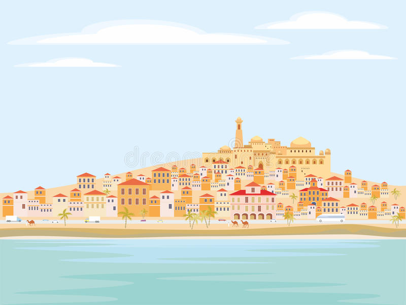 Mediterranean coastal town. Abstract image of a Mediterranean coastal town. Vector background with the image of the sea coast, road, small houses and mosque royalty free illustration