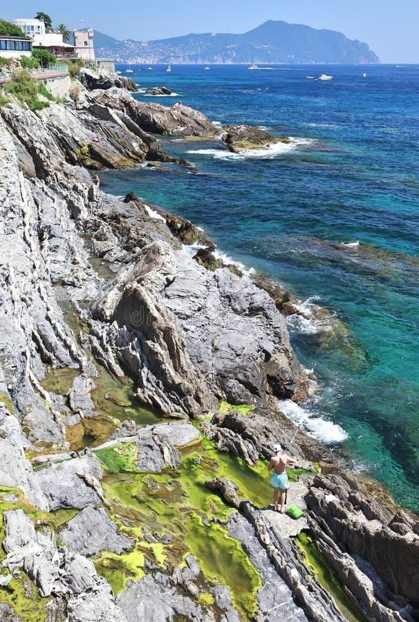 Mediterranean coastline in Genova Nervi royalty free stock photos