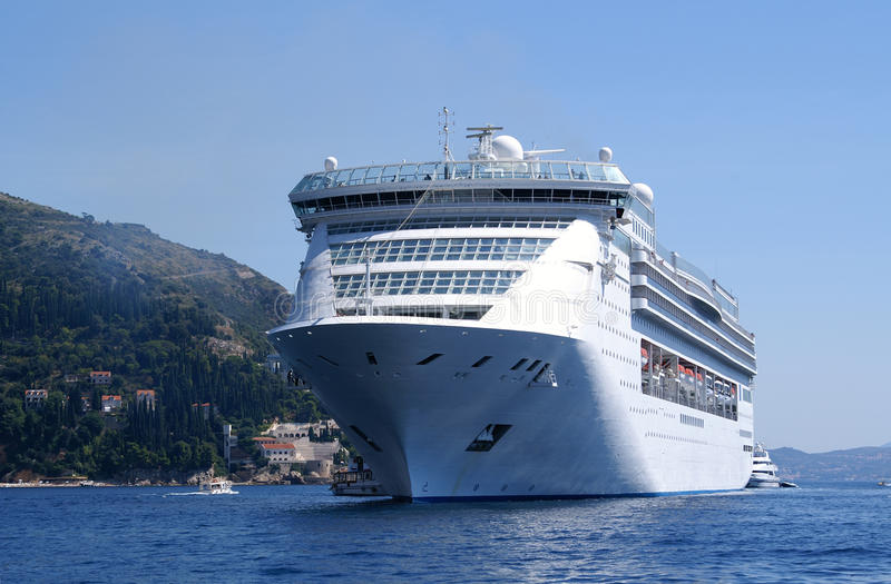 Mediterranean cruise ship. Before the gates of Dubrovnik stock images