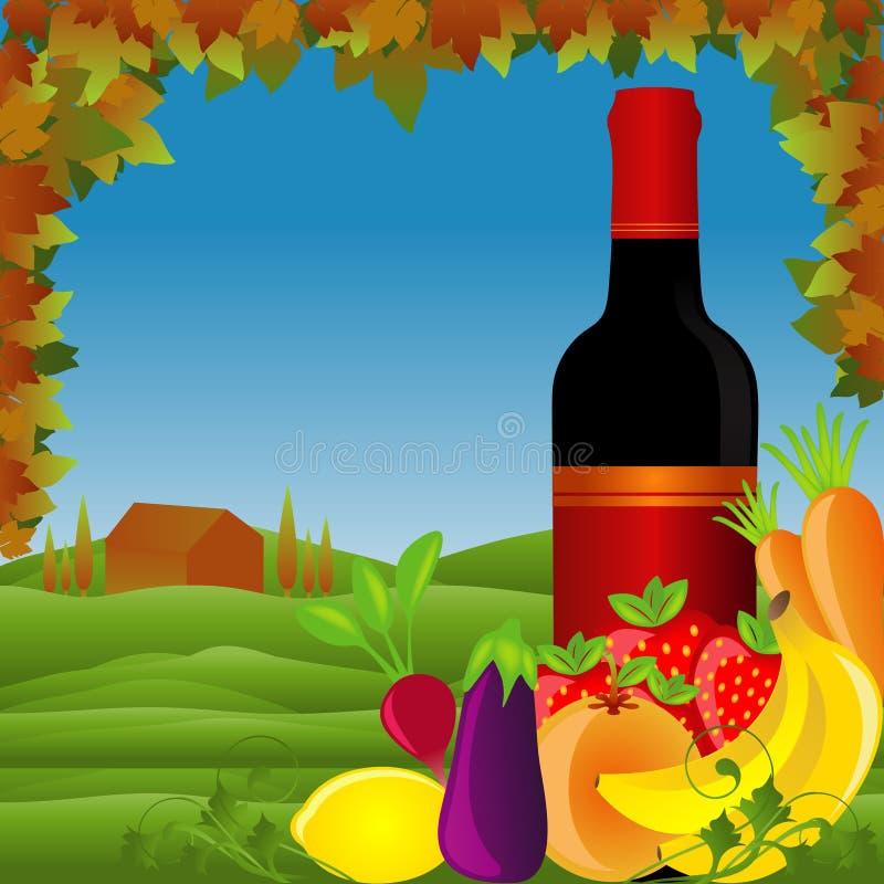 Mediterranean Cuisine. Ingredients with vineyard background stock illustration