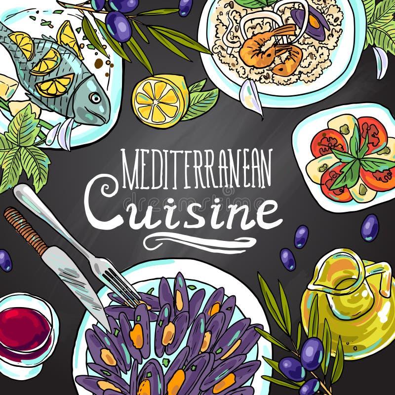 Mediterranean cuisine. Beautiful hand-draw illustration mediterranean cuisine- food on the chalkboard vector illustration