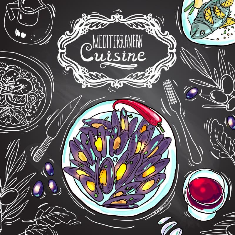 Mediterranean cuisine. Beautiful hand drawn illustration mediterranean cuisine on the chalkboard stock illustration