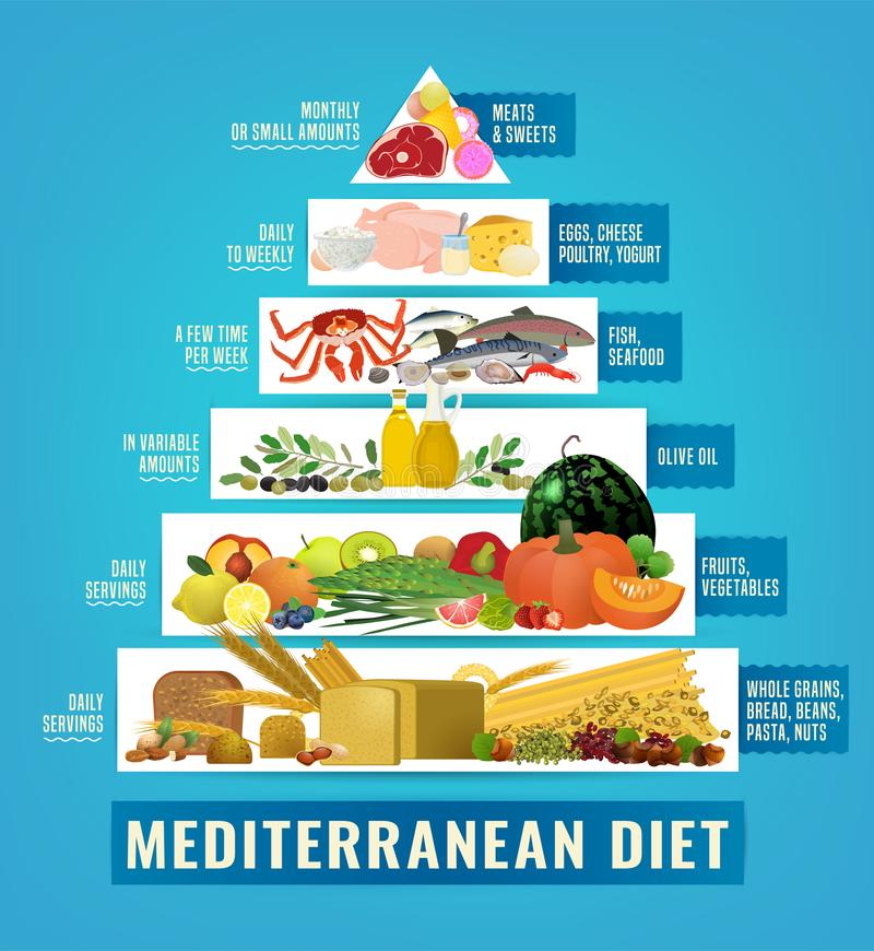 Mediterranean Diet Image. Beautiful vector mediterranean diet image in a modern authentic style isolated on a light blue background. Useful graph for healthy vector illustration