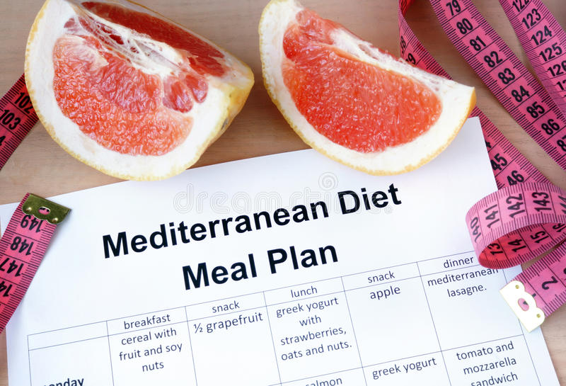 Mediterranean diet meal plan and grapefruit. stock photos