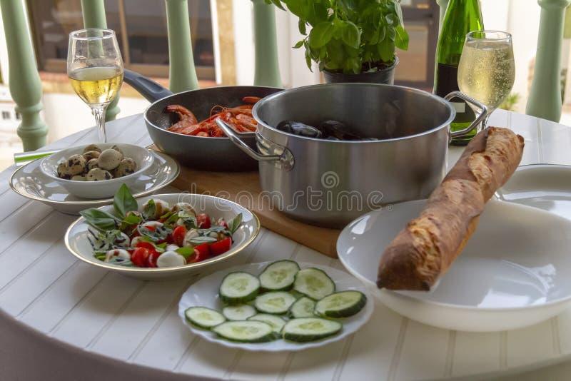Mediterranean dinner royalty free stock photography