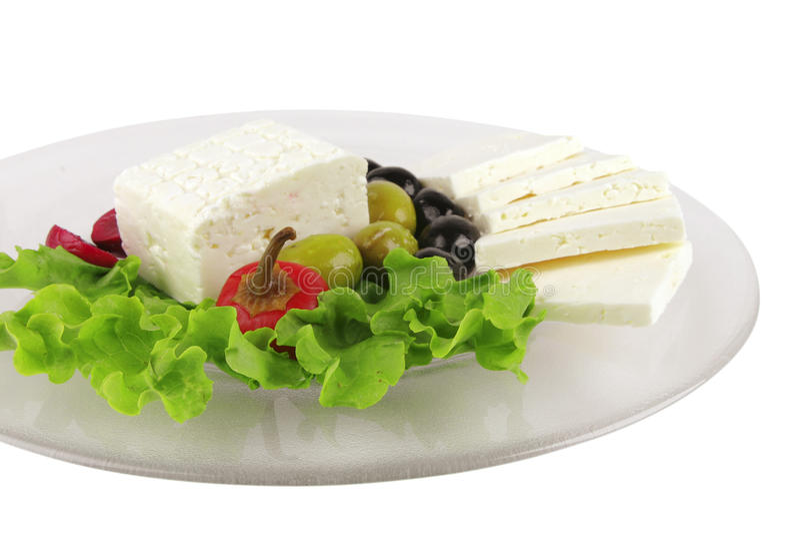 Mediterranean dinner served on glass
