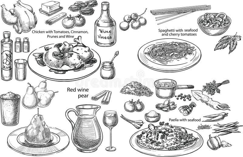 Mediterranean dishes. Creative conceptual vector set. Sketch hand drawn set of 4 bestseller Mediterranean dishes pasta chicken wine vegetables seafood stock illustration