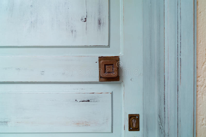Mediterranean door. Mediterranean light blue and worn door stock photos