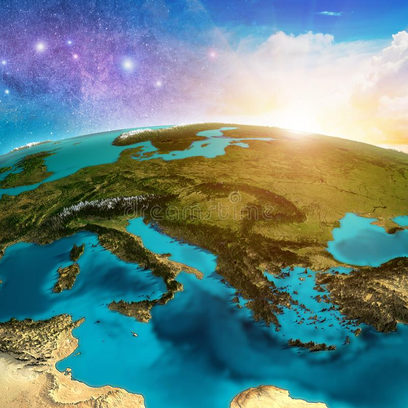 Mediterranean Europe map. Elements of this image furnished by NASA. 3d rendering stock illustration