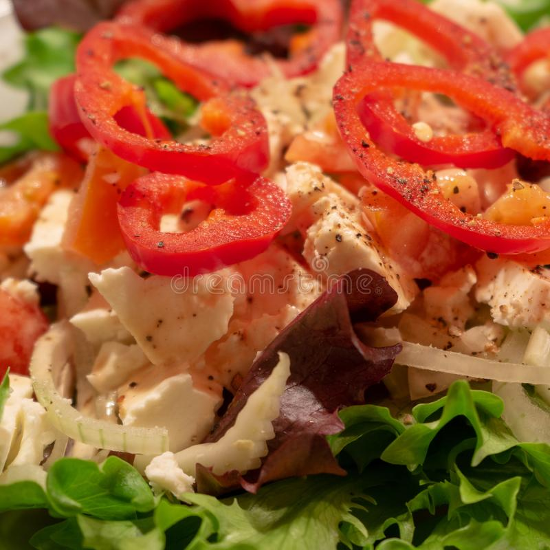 Mediterranean farmers salad with green salad leaves, red pepper and sheep cheese royalty free stock photography