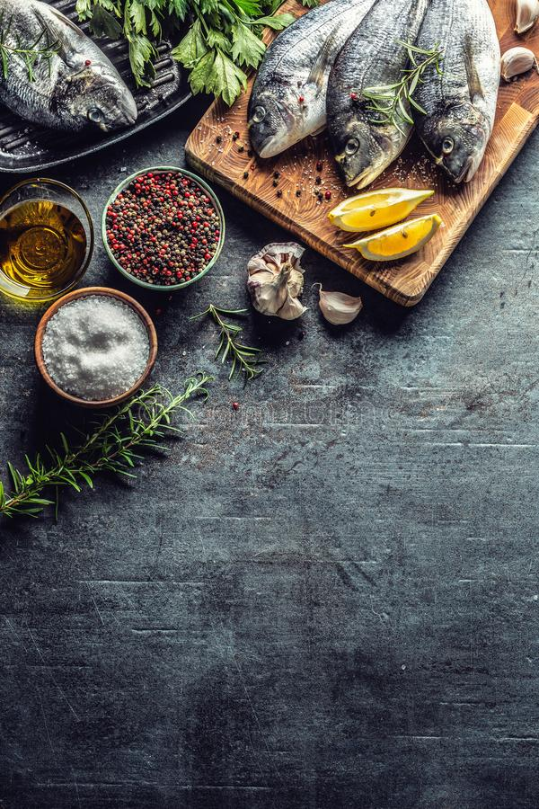 Mediterranean fish bream with spices salt herbs garlic and lemon. Healthy seafood. Concept of healthy sea food.  stock images