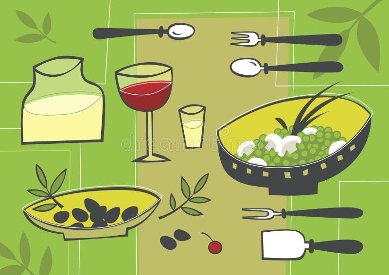 Mediterranean food. Still-life of the Mediterranean dishes. Vector illustration vector illustration