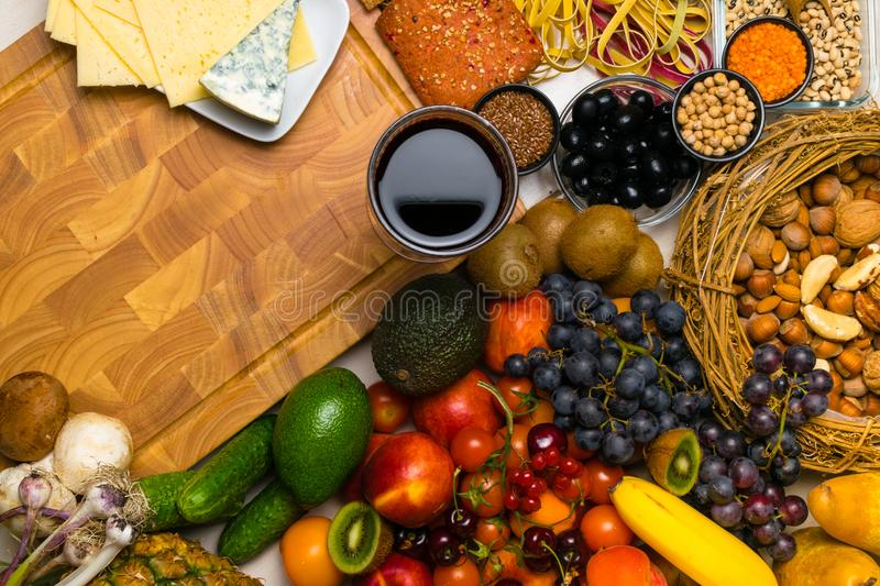 Mediterranean Food background. Assortment of fresh fruits and vegetables Top view. Mediterranean Food background. Assortment of fresh fruits, vegetables, nuts stock photography