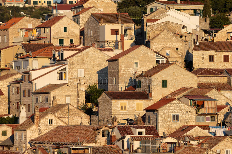 Mediterranean houses in the evening stock image