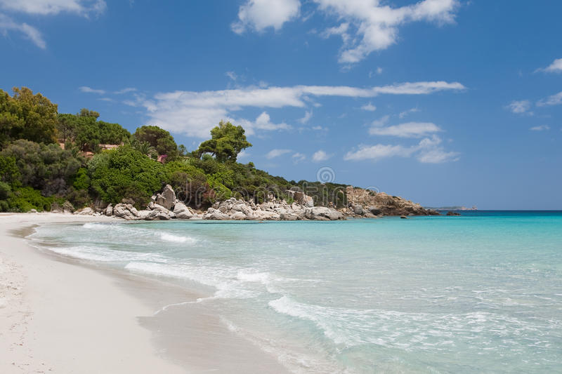 Mediterranean landscape. With empty beach and blue sky royalty free stock images