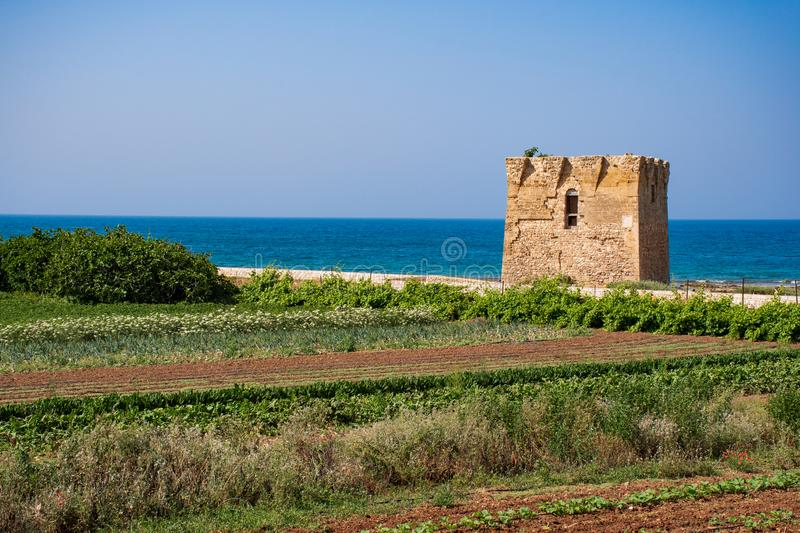 Mediterranean landscape, Puglia. Baroque watchtower, beautiful old tower in San Vito, Polignano a Mare, Bari, Puglia, Italy with with blue sea, beach and royalty free stock images
