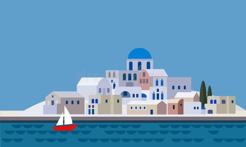 Mediterranean landscape by sea, Greek island with little town, village, resort, beach, flat design,. Illustration vector illustration