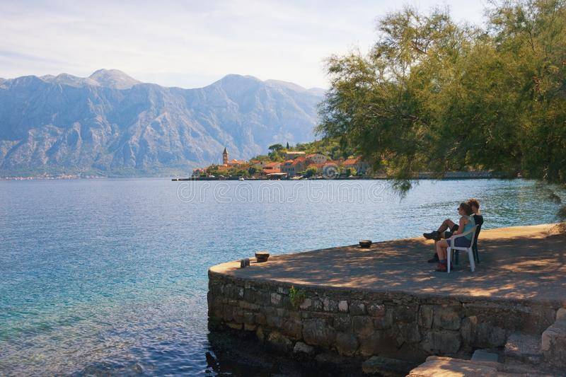Mediterranean landscape with tourists, admiring beautiful scenery. Montenegro royalty free stock photography