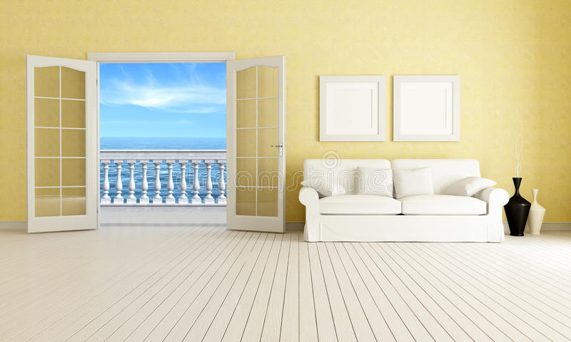 Mediterranean living room. Living room of a mediterranean beach house - rendering - the image on background is a my rendering composition vector illustration