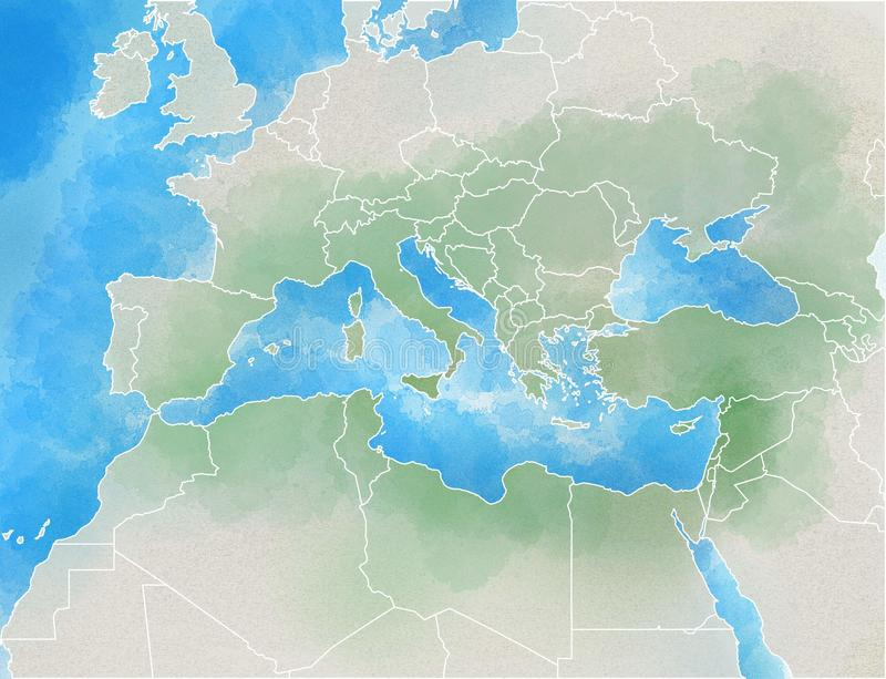 Mediterranean map, illustrated. Map of Europe, Mediterranean, Africa and Middle East vector illustration