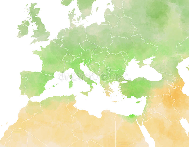 Mediterranean map, illustrated. Map of Europe, Mediterranean, Africa and Middle East royalty free illustration