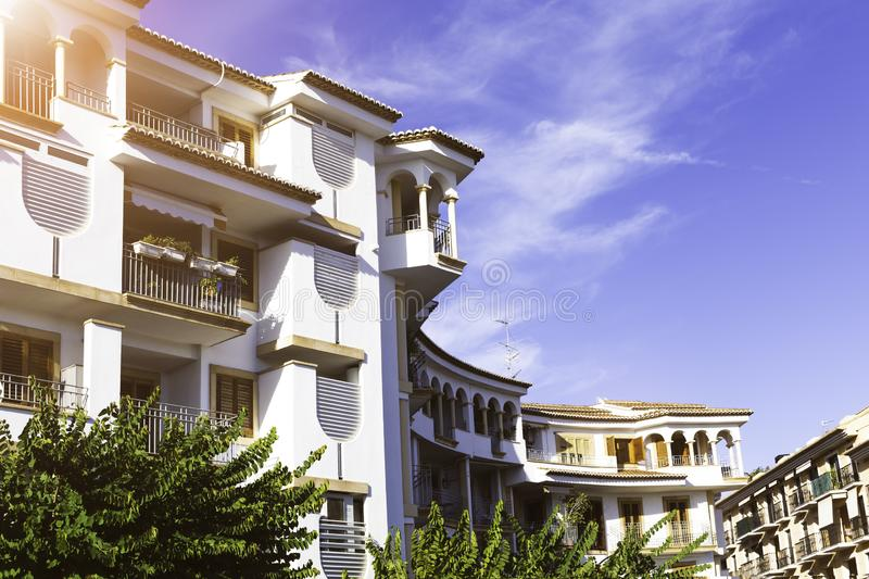 Mediterranean modern architecture in Spain in the sunlight.  royalty free stock image