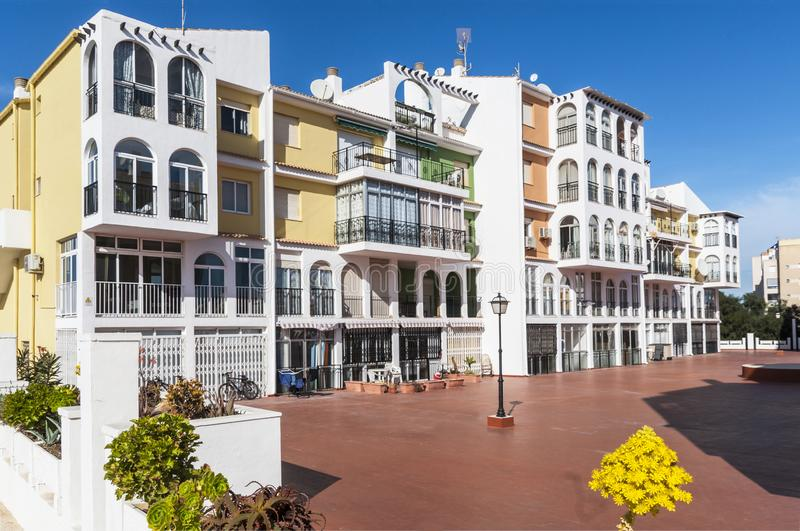 Mediterranean modern architecture in Spain. In the sunlight royalty free stock photo