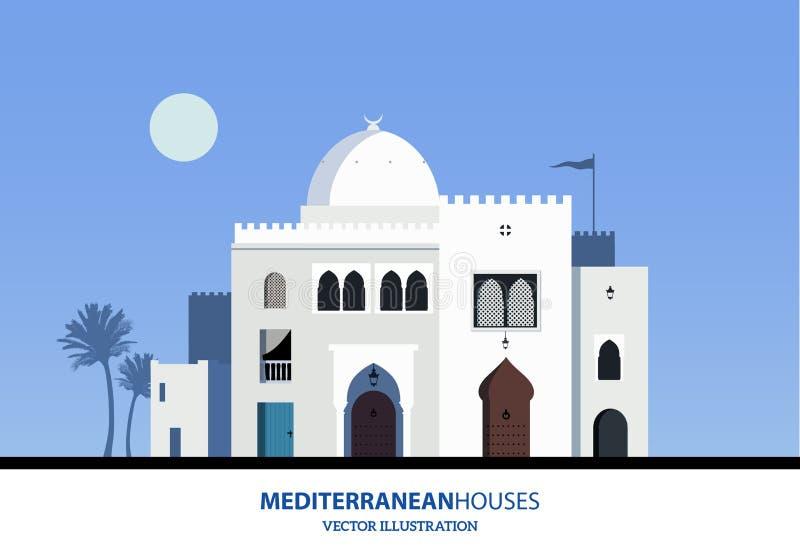 Mediterranean Moroccan or Arabic style houses set. Vector Illustration royalty free illustration