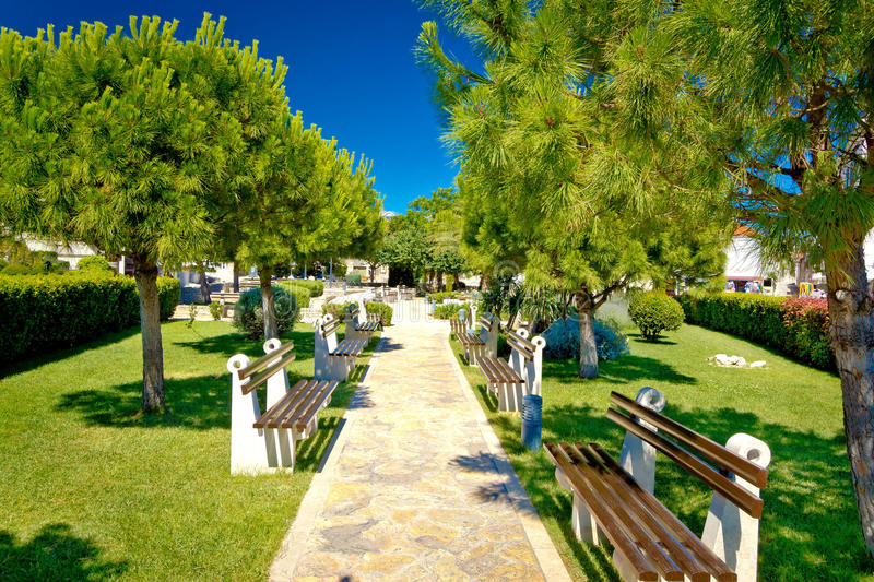 Mediterranean park with benches view stock images