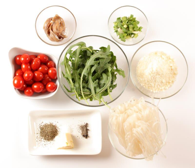 Mediterranean pasta ingredients royalty free stock photos