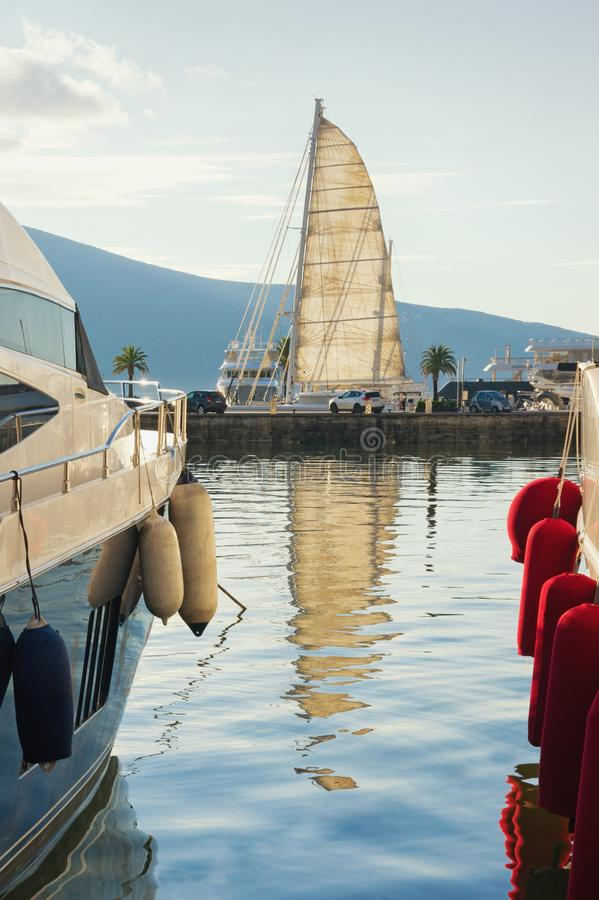 Mediterranean port. Montenegro, Bay of Kotor, Tivat city. View of yacht marina of Porto Montenegro. Mediterranean port. Montenegro, Adriatic Sea, Bay of Kotor stock photos