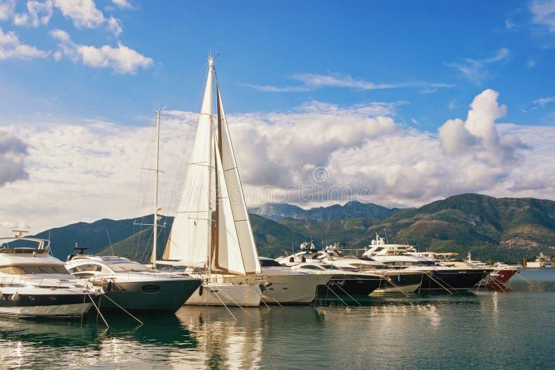 Mediterranean port. Montenegro, Tivat, view of yacht marina of Porto Montenegro in Adriatic. Mediterranean port. Montenegro, Tivat, Bay of Kotor Adriatic Sea royalty free stock photography