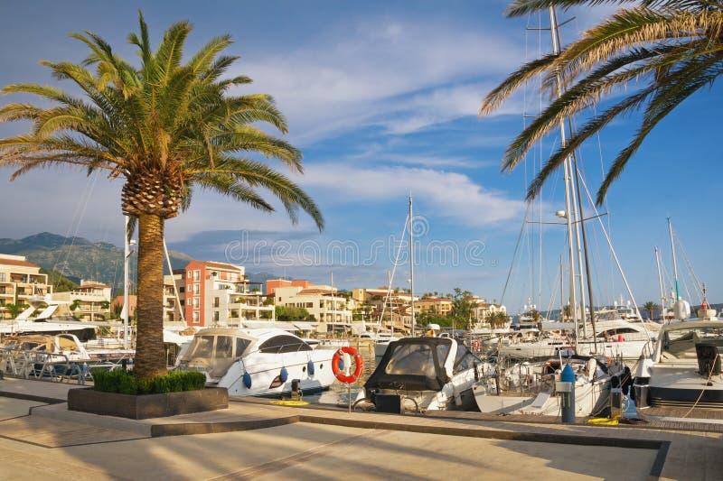 Mediterranean port. Montenegro, Tivat, view of yacht marina of Porto Montenegro. Mediterranean port. Montenegro, Bay of Kotor Adriatic Sea, Tivat city. View of stock images