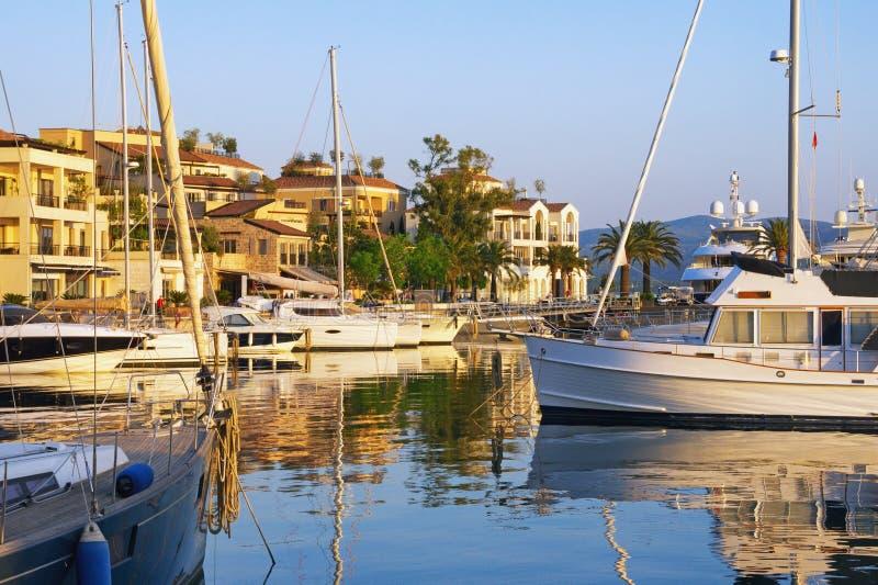 Mediterranean port. Montenegro, view of Porto Montenegro in Tivat city. Full service yacht marina in the Adriatic stock photo
