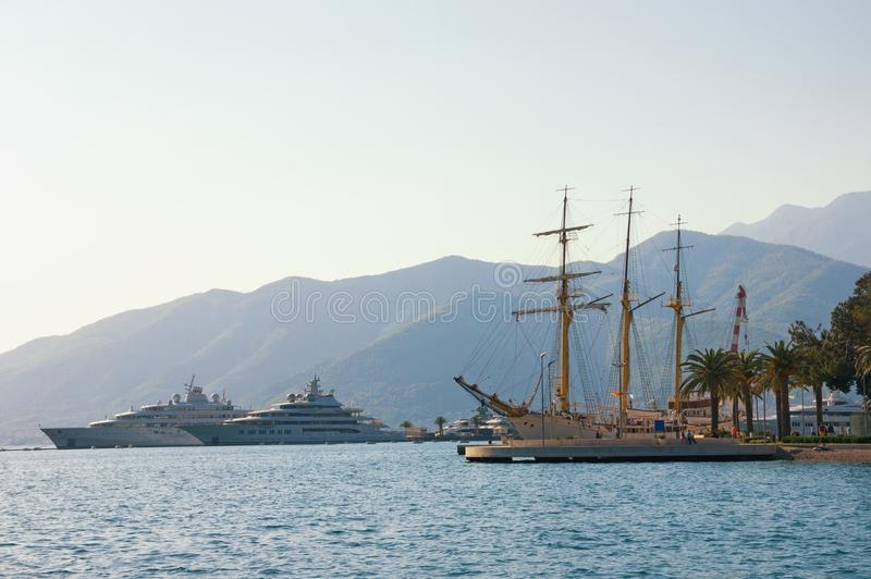Mediterranean port. Montenegro, view of Tivat city. Travel and vacation concept. Free space for text royalty free stock photography