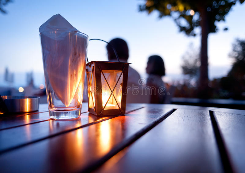 Mediterranean Restaurant Table stock photos