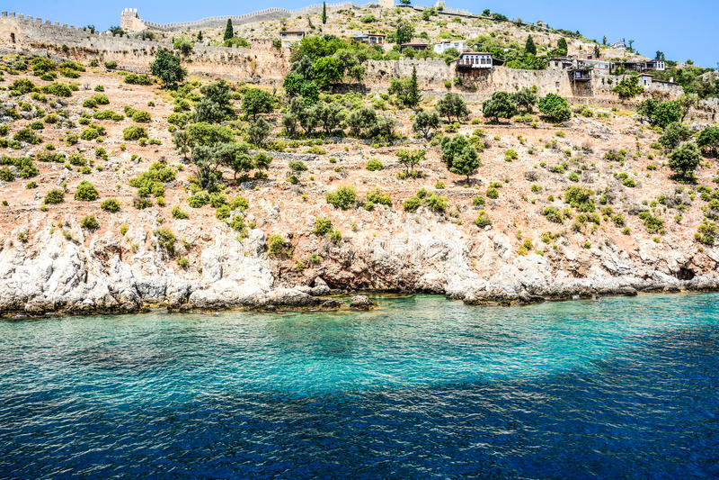 Mediterranean rocks and ocean in Turkey stock images