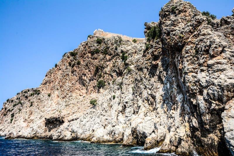 Mediterranean rocks and ocean in Turkey stock photos