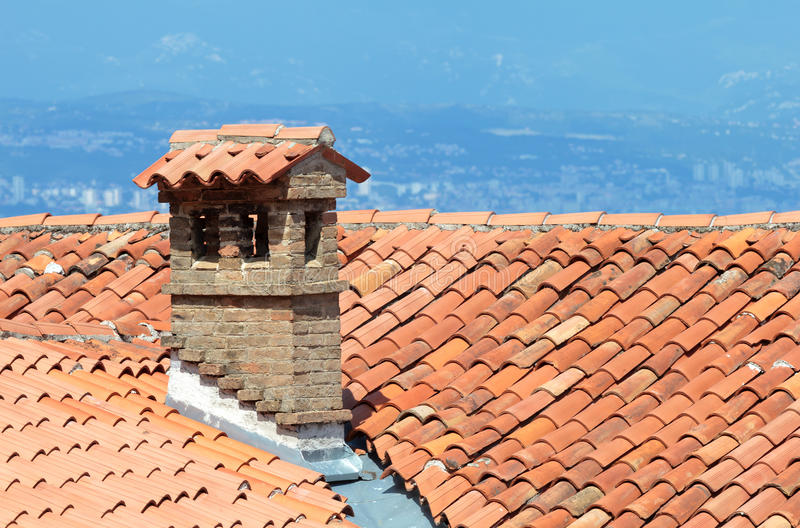 Mediterranean rooftop and chimney stock image