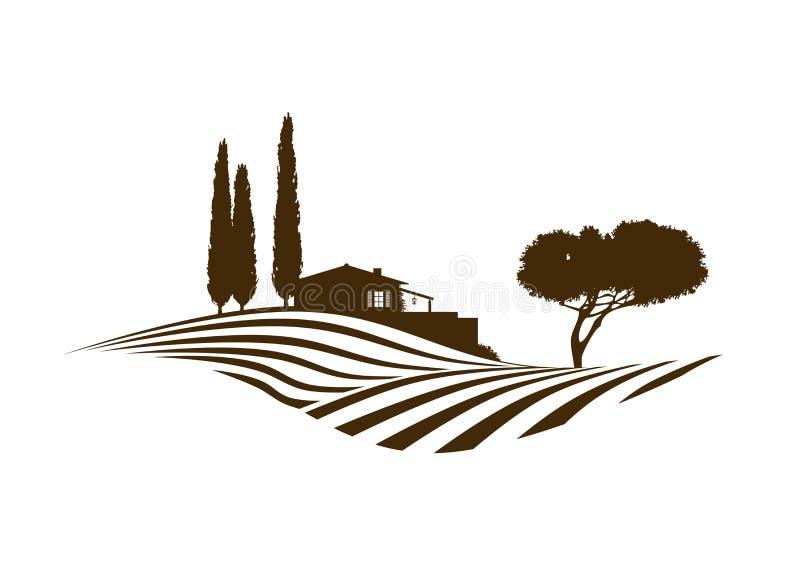 Mediterranean rural vector landscape. Rural mediterranean vector landscape with fields, house and cypresses stock illustration