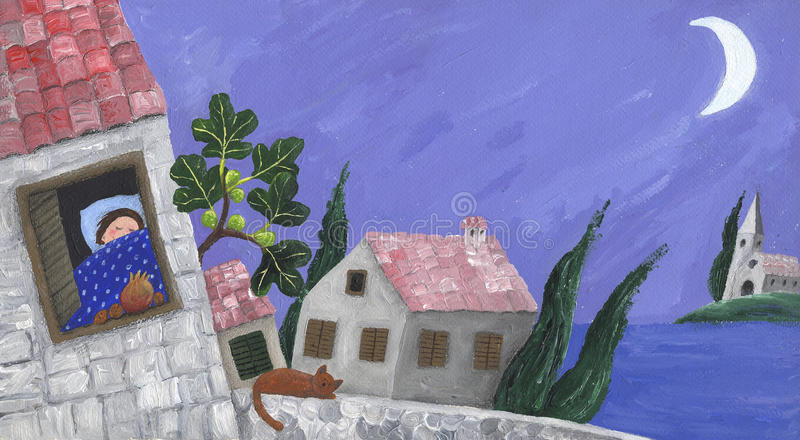 Mediterranean scene. Acrylic Illustration of Mediterranean scene stock illustration