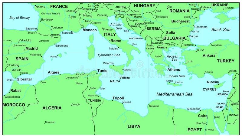 Mediterranean Sea. Sea maps series: Mediterranean Sea royalty free illustration