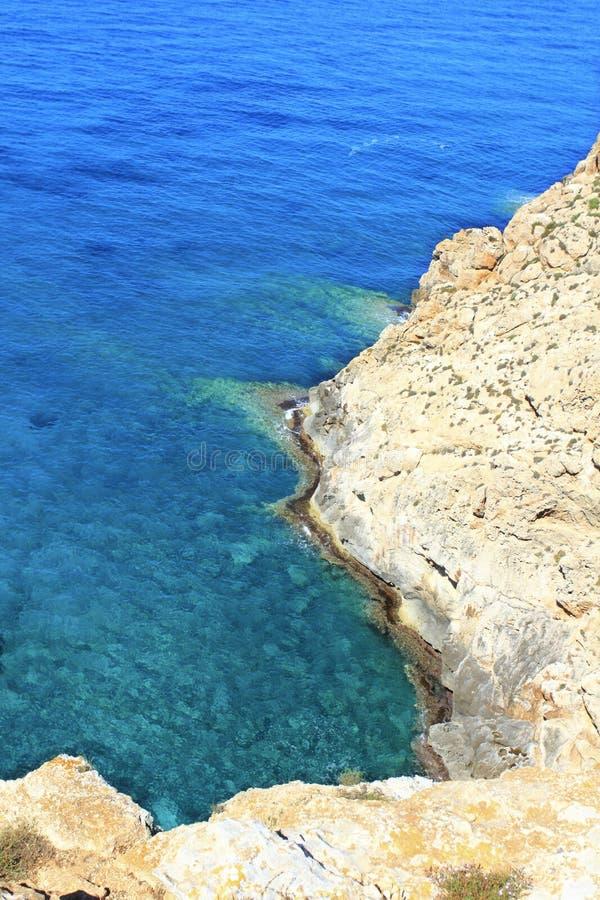 Mediterranean sea Barbaria cape Formentera. Mediterranean high sea view Barbaria cape Formentera balearic islands stock photo