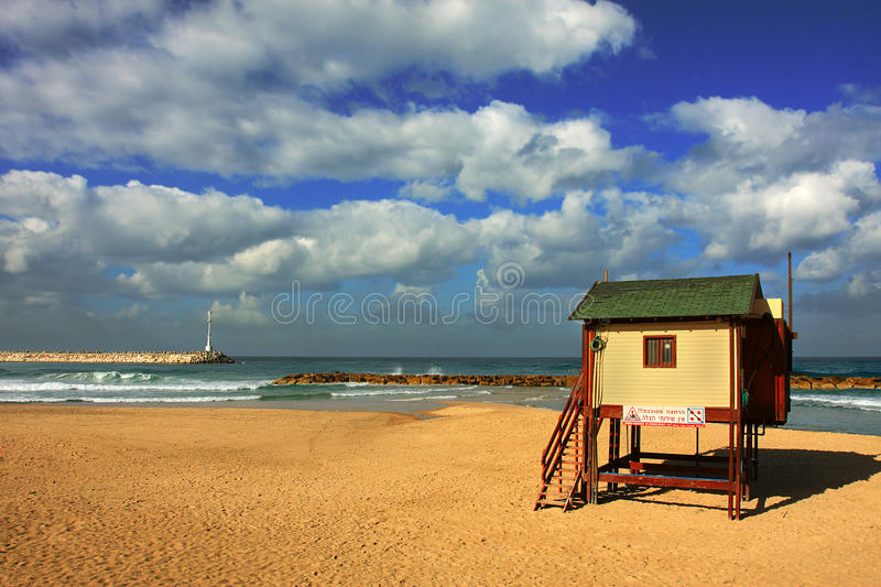 Download Mediterranean Sea Beach Under The Cloudy Sky. Stock Photo - Image of destination, holiday: 14875744