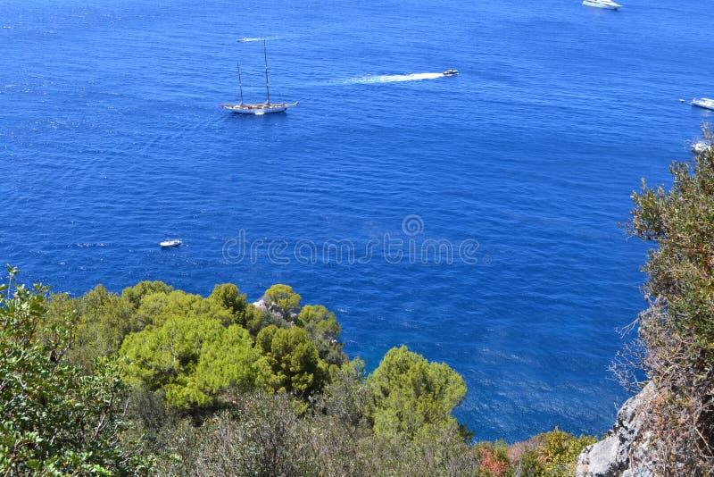 Mediterranean sea,Capri `s sea stock photo