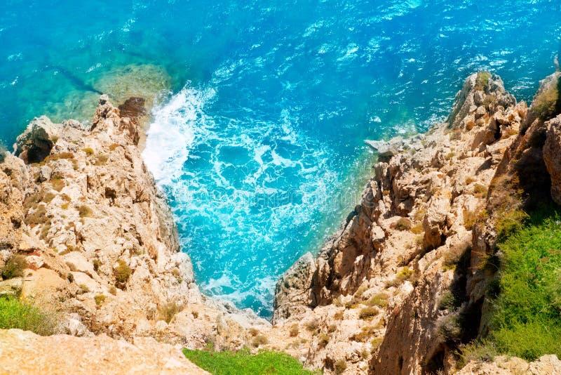 Mediterranean sea foam rocky shore. In formentera Barbaria cape stock images