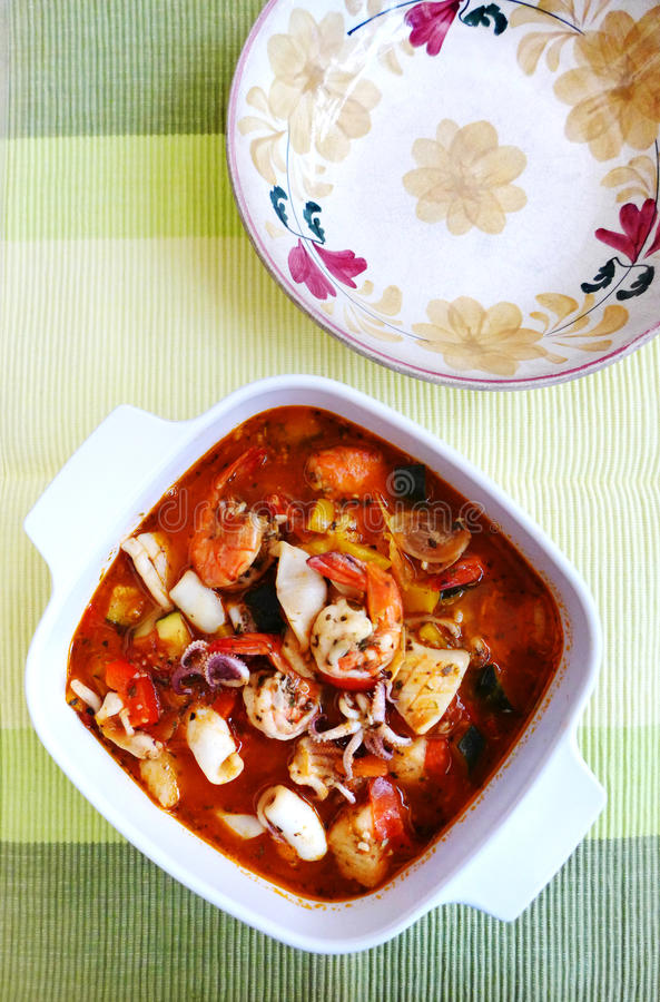 Mediterranean sea food stew stock photos