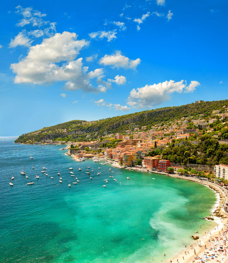 Mediterranean sea. French riviera, France. Blue sky. Mediterranean sea bay. French riviera, France. Holidays nature background with cloudy blue sky royalty free stock photo