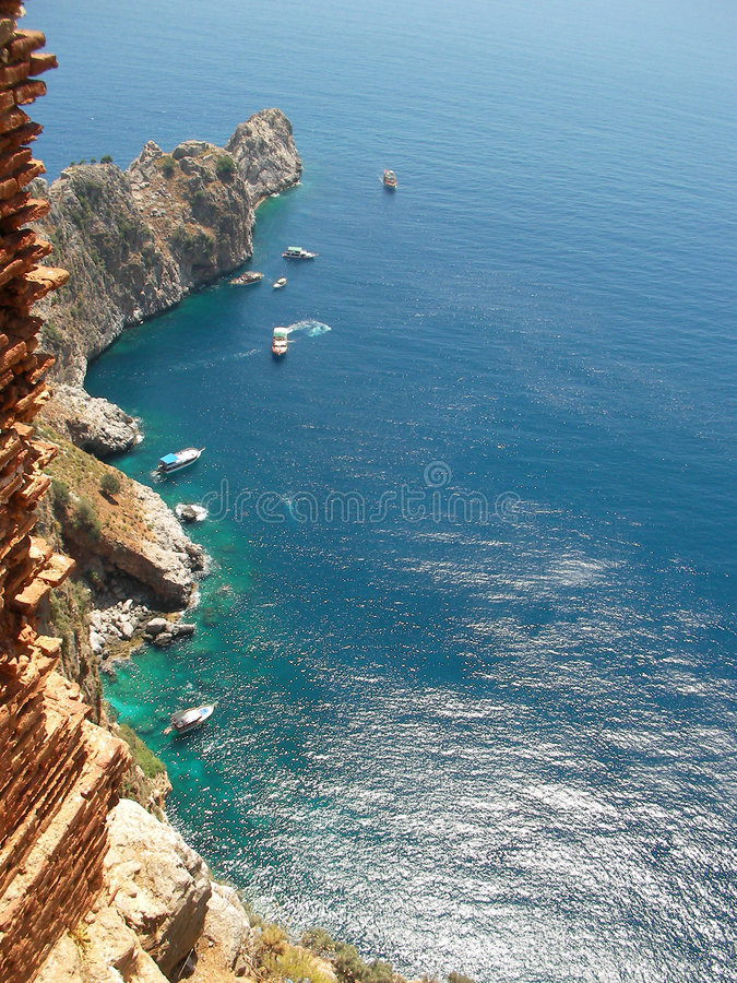 Mediterranean sea and mountains near Alanya (country Turkey) royalty free stock images